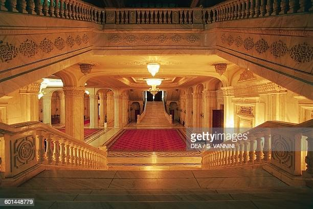 Staircase in the Palace of the Parliament Bucharest Romania 20th century