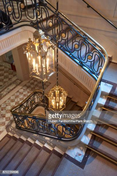 A staircase inside the Crillon Hotel photographed for Paris Match on June 22 2017 in Paris France