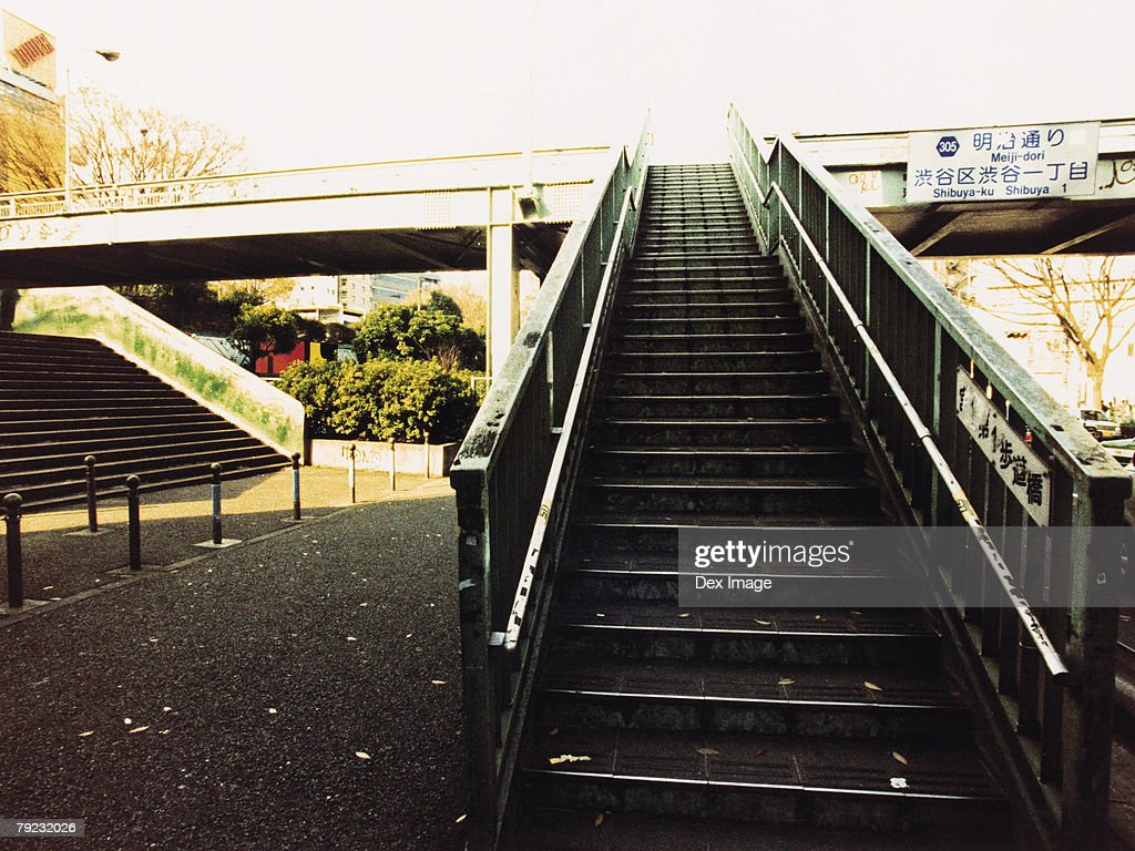 Staircase leading to the bridge : Stock Photo