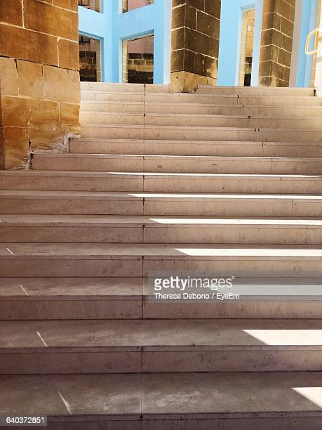 staircase leading towards building - maltese islands stock photos and pictures