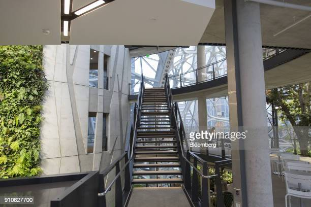 A staircase leads to four levels inside the Amazoncom Inc Spheres in Seattle Washington US on Tuesday Jan 23 2018 The online retailer is scheduled to...
