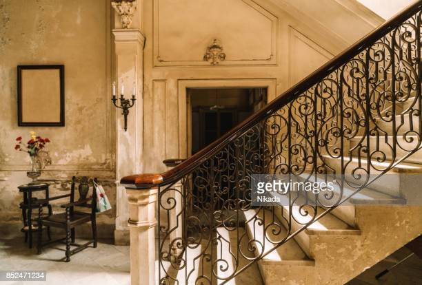 staircase of a colonial villa in havana, cuba - staircase stock photos and pictures