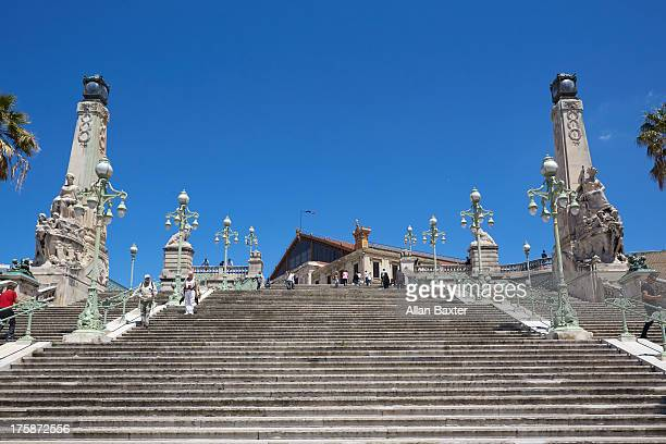 staircase of marseille saint charles - marseille stock pictures, royalty-free photos & images