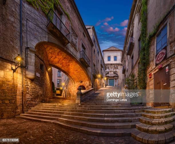staircase of san martin, girona, catalonia, spain - girona stock photos and pictures