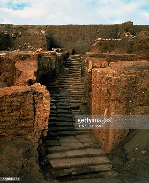 Staircase of the sacred area dedicated to the goddess Ishtar ancient city of Ebla Syria Bronze Age