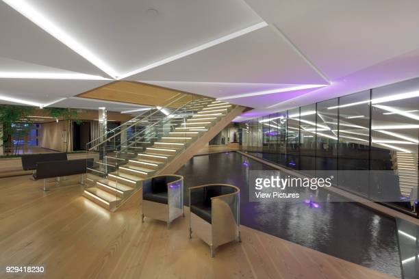 Staircase to first floor with reflecting pool behind IBC Innovation Factory Kolding Denmark Architect schmidt hammer lassen architects 2012