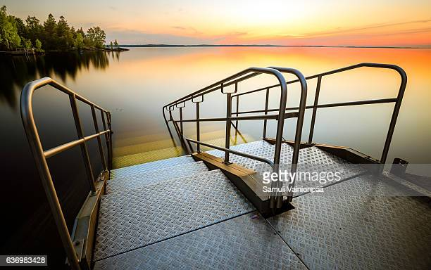 staircase to lake näsi - tampere finland stock pictures, royalty-free photos & images