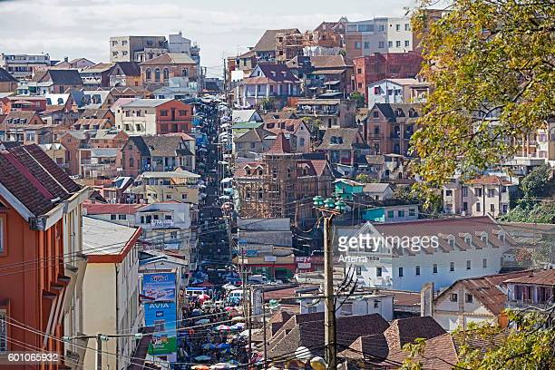 Staircase which connect la ville moyenne to the central market place at Analakely in Antananarivo capital city of Madagascar Southeast Africa