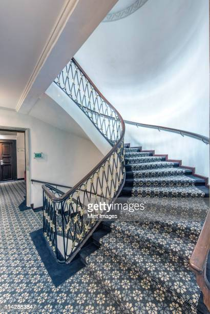 staircase with rug in modern hotel - capital architectural feature stock pictures, royalty-free photos & images