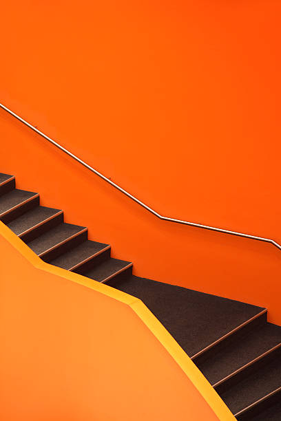 """Stairs, abstract orange staircase"""