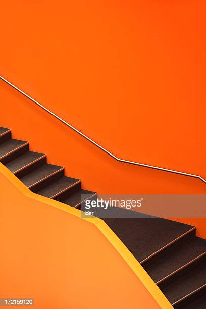 Stairs, abstract orange staircase