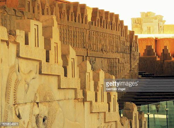Stairs and decorations of the main hall of the Takhte Jamshid Persepolis complex once the capital of the Achaemenid Persian empire turned into rubble...