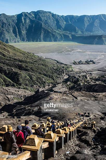 stairs at bromo volcano crater - mt bromo stock photos and pictures