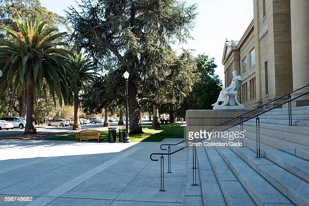 Stairs at entrance to Cantor Arts Center, formerly the Leland Stanford Junior Museum, on the campus of Stanford University in the Silicon Valley town...