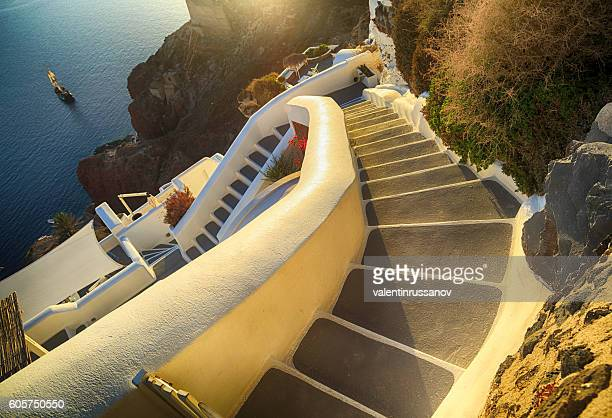 Stairs at sunset in Santorini, Greece