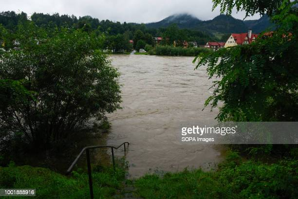 Stairs covered by water seen at Dunajec river Southern Poland and northern Slovakia on flood alert due to extreme rain falls