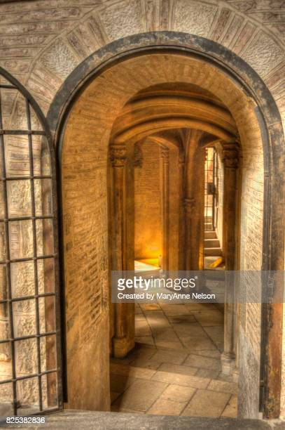 stairs down to crypts - crypt stock photos and pictures