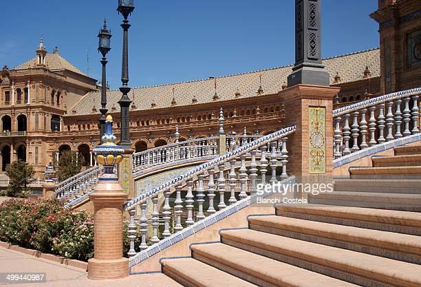 Stairs in Plaza de España in Seville