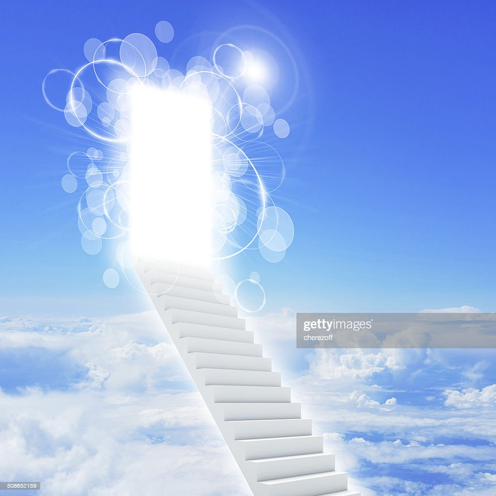 Stairs in sky with clouds and sun : Stock Photo