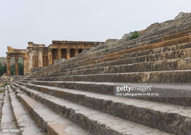 Stairs in the antique ruins at the archeological site Beqaa Governorate Baalbek Lebanon on May 1 2017 in Baalbek Lebanon