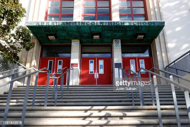 Stairs lead to the entrance of Abraham Lincoln High School on December 17, 2020 in San Francisco, California. A San Francisco school names advisory...