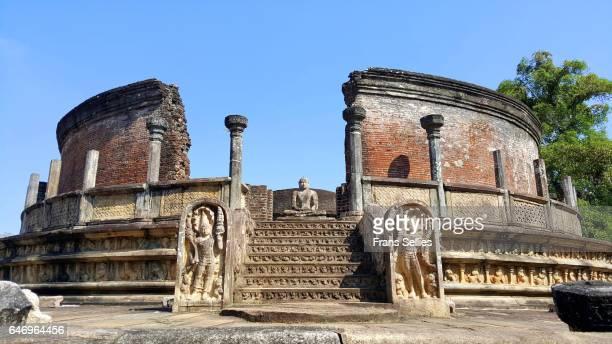 Stairs leading to Buddha statue in Vatadage, Polonnaruwa, Sri Lanka