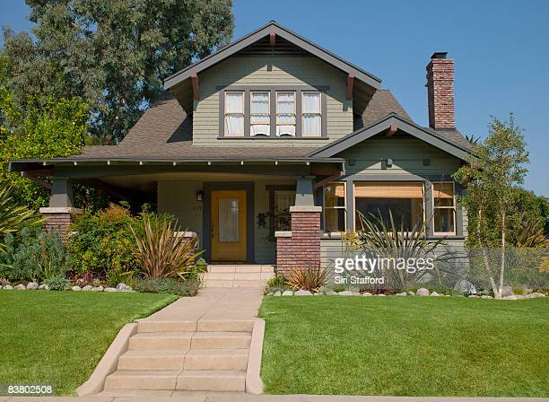 stairs leading to craftsman house - buildings stock pictures, royalty-free photos & images