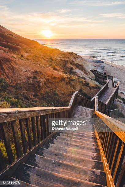 Stairs leading to the sunset. South Australia.