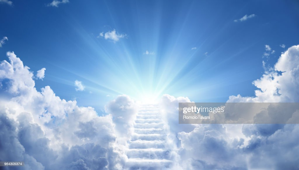 Stairs Leading Up To Heavenly Sky Toward The Light : Stock Photo