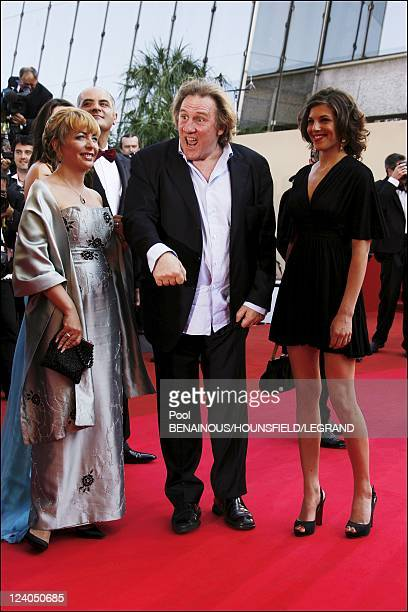 Stairs of 'Chacun son cinema' at the 60th Cannes International Festival in Cannes France on May 20 2007 Gerard Depardieu and Clementine Igou