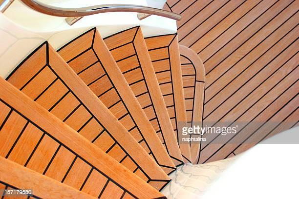 stairs of yacht - teak wood material stock pictures, royalty-free photos & images