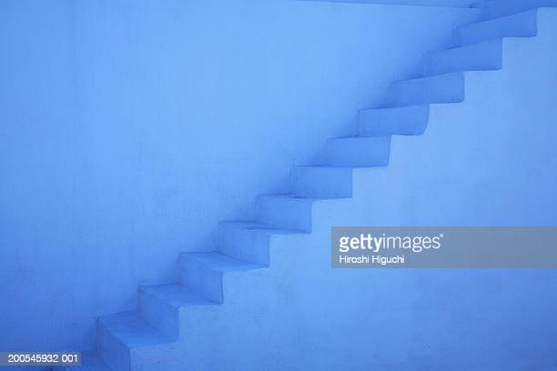 stairs, outdoors, (blue tone) - cyclades islands stock pictures, royalty-free photos & images