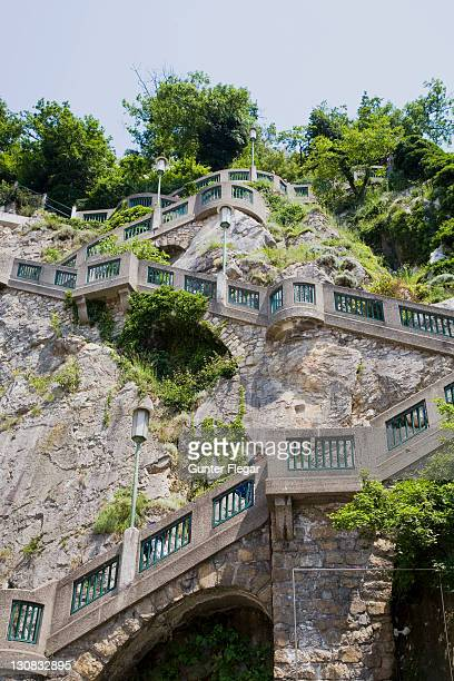 stairs rise to the grazer castle mountain - castle mountain stock photos and pictures