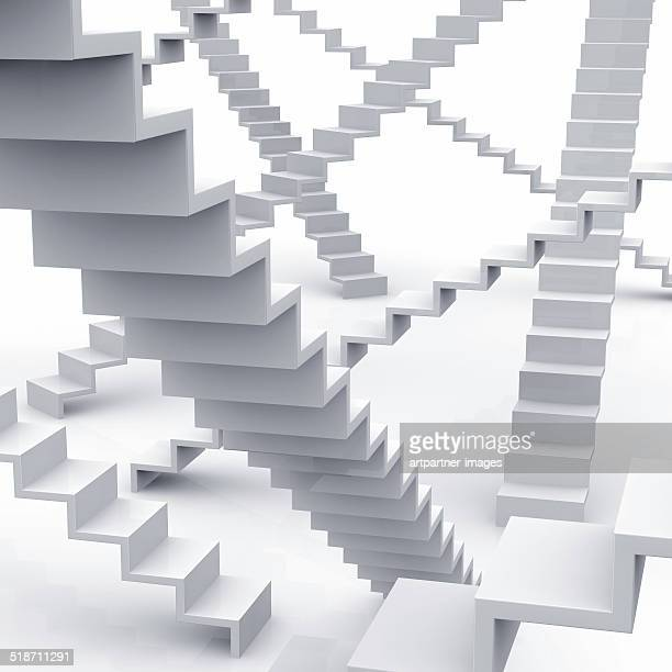 Stairs, Steps, Staircases everywhere on white