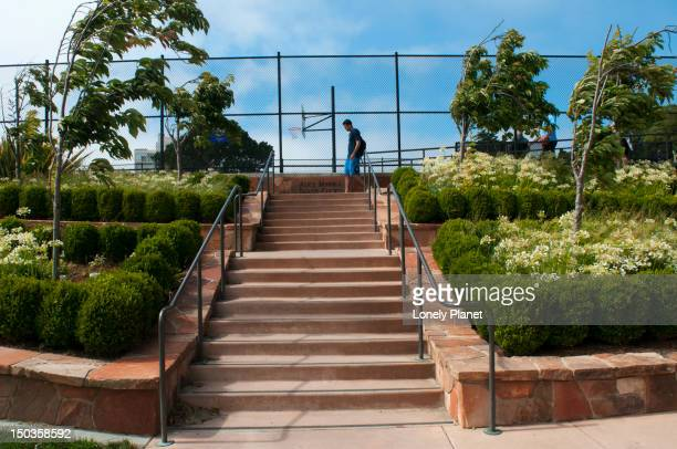 Stairs to tennis courts and basketball court in Sterling Park.