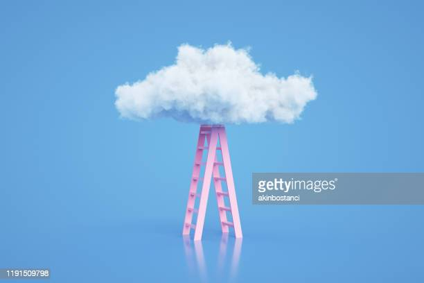 stairs to the clouds, ladder of success concept - three dimensional stock pictures, royalty-free photos & images