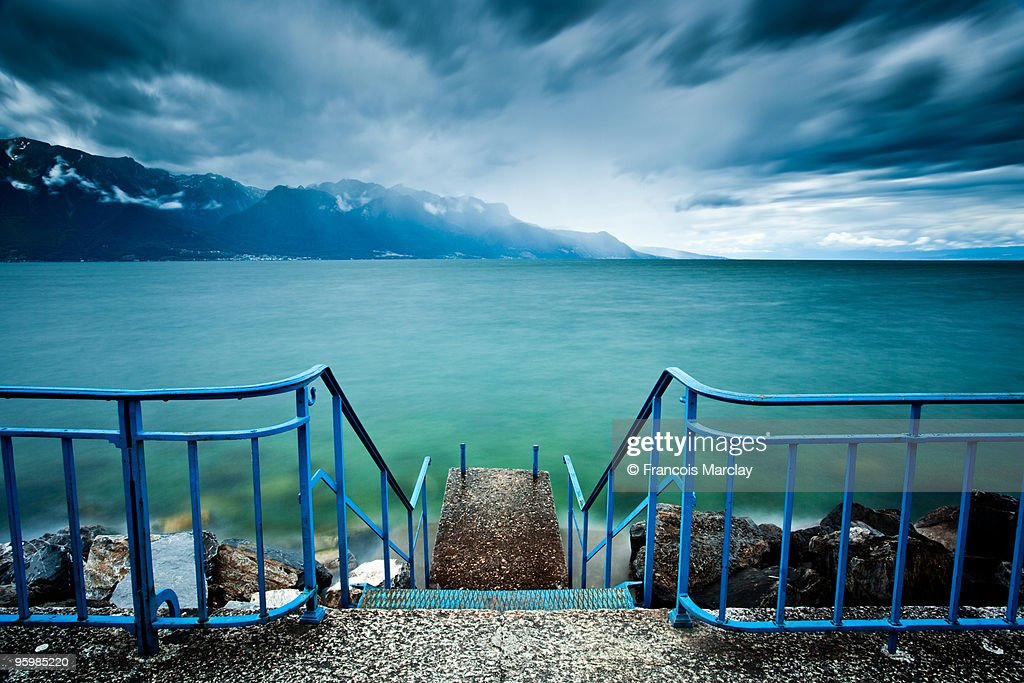 Stairs to the lake Leman : Stock-Foto