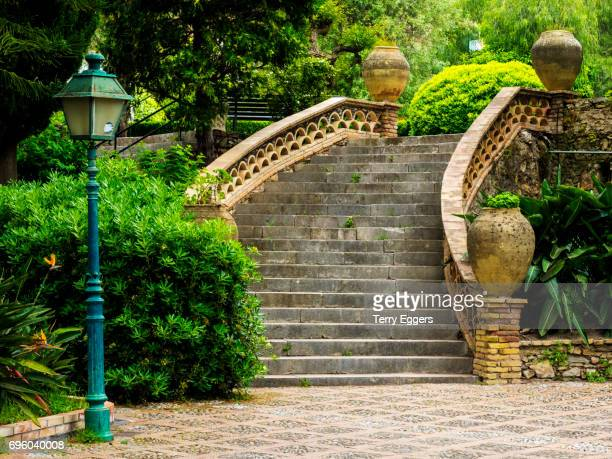 stairway and scenes from  taormina - castelmola stock pictures, royalty-free photos & images