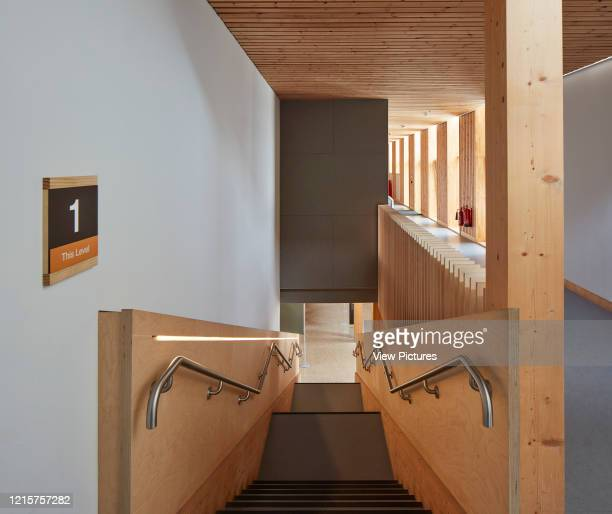 Stairway and upper floor corridor The Enterprise Centre UEA Norwich United Kingdom Architect Architype Limited 2015