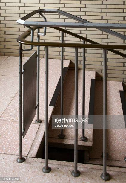 Stairway detail with handrail and balustrade Scharoun's Marl School Marl Germany Architect Hans Scharoun 1975