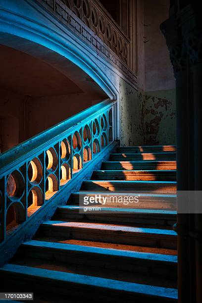 Stairway in abandoned European castle