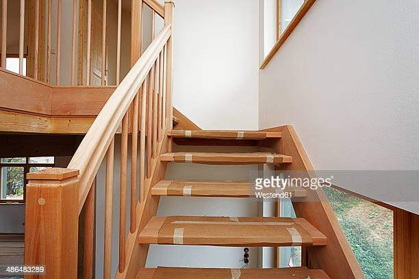 stairway made of beech tree in new built one-family house - beech tree stock pictures, royalty-free photos & images