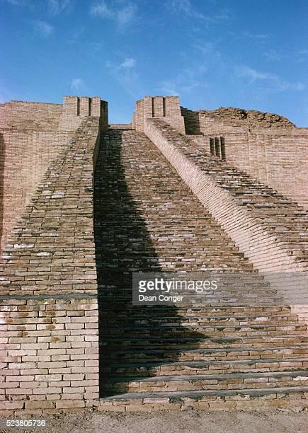 stairway on stone ziggurat - ziggurat stock photos and pictures