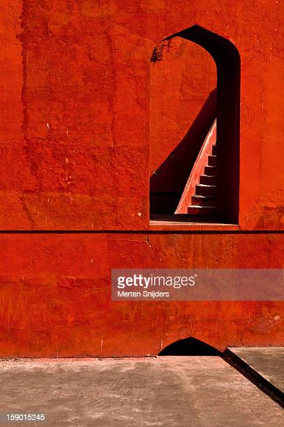 stairway seen through window - jantar mantar stock pictures, royalty-free photos & images