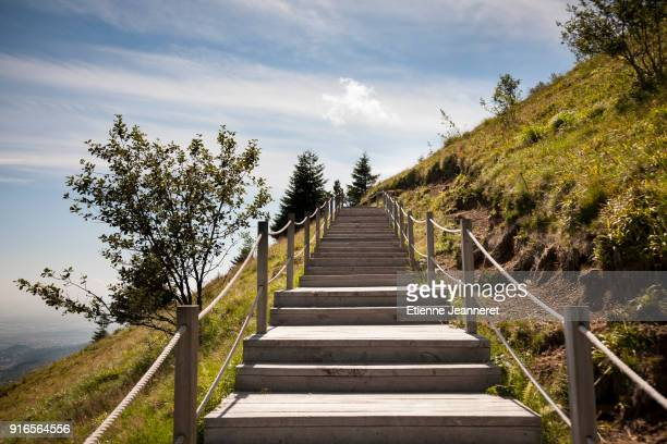 stairway to heaven, puy de dôme, auvergne, france - uphill stock pictures, royalty-free photos & images