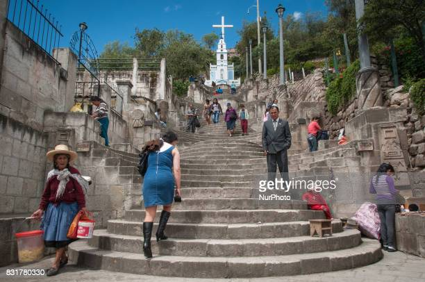 Stairway to the Cerro Santa Apolonia in Cajamarca Peru Photo taken 17 March 2017 Cajamarca Peru is home to the Yanacocha gold and copper mine one of...
