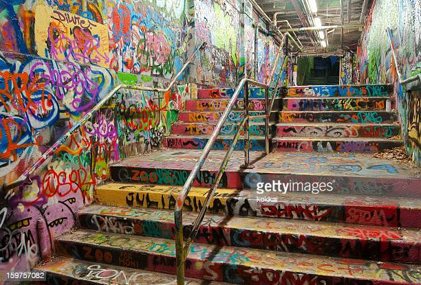 stairway tunnel filled with graffiti in university of sydney - university of sydney stock pictures, royalty-free photos & images