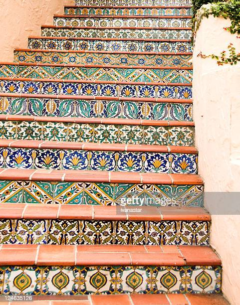 stairway with mexican, talavera tiles - spanish culture stock pictures, royalty-free photos & images