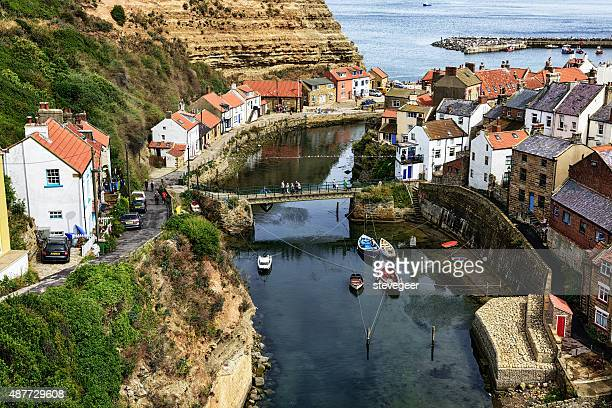 staithes beck and harbour in north yorkshire, england - north yorkshire stock pictures, royalty-free photos & images