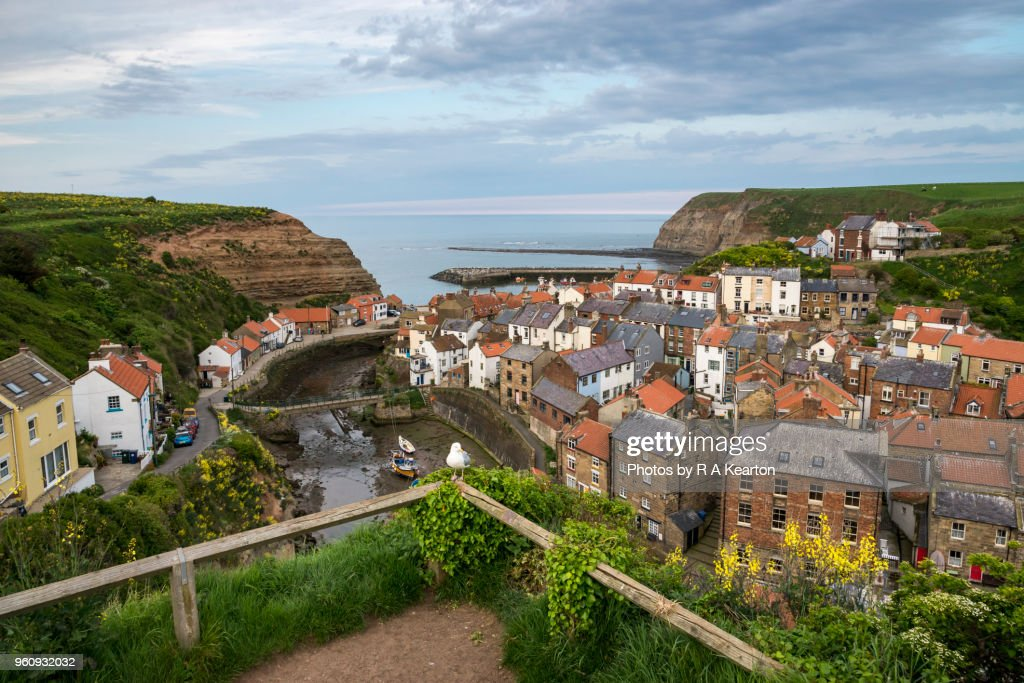 Staithes village at dusk, North Yorkshire, England : Stock Photo